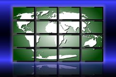 World on monitors Royalty Free Stock Photos