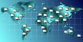 World and monitors Stock Image