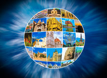 World Monuments Collage. From different religions from Bali, Thailand at Asia and Florens, Spain in Europe stock photo