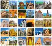 World Monuments Collage. From different religions from Bali, Thailand, Cambodia at Asia and Florens, Spain, Santorini, Venice in Europe royalty free stock photo