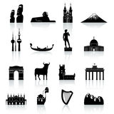 World Monuments and Culture Icon Set Royalty Free Stock Photography