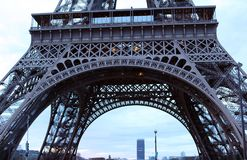 World most famous landmark Eiffel tower in Paris France during sunrise no people in picture. During spring Stock Image