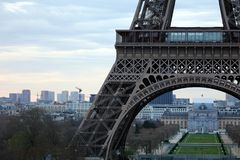 World most famous landmark Eiffel tower in Paris France during sunrise no people in picture. During spring Royalty Free Stock Image
