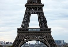 World most famous landmark Eiffel tower in Paris France during sunrise no people in picture. During spring Stock Photo