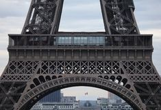 World most famous landmark Eiffel tower in Paris France during sunrise no people in picture. During spring Royalty Free Stock Photos