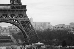 World most famous landmark Eiffel tower in Paris France during sunrise no people in picture. During spring Royalty Free Stock Photo