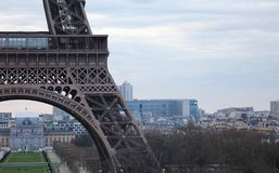 World most famous landmark Eiffel tower in Paris France during sunrise no people in picture. During spring Stock Photography