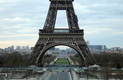 World most famous landmark Eiffel tower in Paris France during sunrise no people in picture. During spring Stock Photos