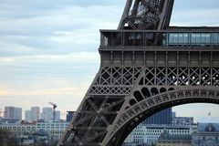 World most famous landmark Eiffel tower in Paris France during sunrise no people in picture. During spring Royalty Free Stock Images