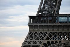 World most famous landmark Eiffel tower in Paris France during sunrise no people in picture. During spring Royalty Free Stock Photography