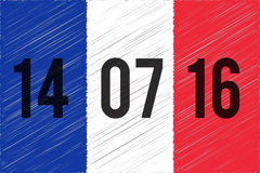 World mourns for Nice, France. France national flag. 14 June 2016 written on the flag. The day of terrorist attack in Nice, France. Tribute to all victims of Stock Photos