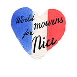 World mourns for Nice, France. Watercolor flag of France in heart shape. World mourns for Nice lettering. Tribute to victims of Nice 14 June 2016 terrorist Stock Image