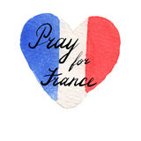 World mourns for Nice, France. Watercolor flag of France in heart shape. Pray for France lettering. 14 June 2016 terrorist attack in Nice. Tribute to victims of Royalty Free Stock Photography