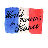 World mourns for Nice, France. Watercolor Flag of France. World mourns for France lettering. The day of terrorist attack in Nice, France. Tribute to all victims Stock Photo