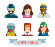 World Multinational Active People Icons. Outdoor activity guy and girl icons. Active people avatar set. Active man and woman in sportswear. Multinational world Stock Photo
