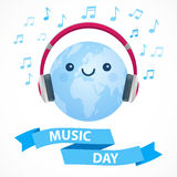 World Music Day. Blue and white vector illustration. Cute happy globe with big pink headphones, musical signs and ribbon Royalty Free Stock Image