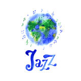 World music day design template. Watercolor jazz. Suitable for greeting cards, posters and banners. World music day design template. Watercolor jazz. Suitable Royalty Free Stock Photo