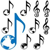 World Music Earth Notes. Set of Nine World Music symbols. 3 different earth globes: Atlantic; Americas; Eastern Hemisphere stock illustration