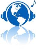 World music headphones on earth Stock Photo