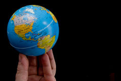 The World at My Fingertips. The concept of the world at my fingertips stock photo
