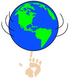 World in my hand. Globe or world spinning on pointed finger - concept in control - vector Stock Photography