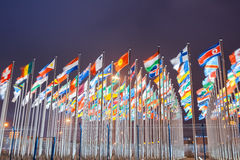 World national flags. National flags of countries all over the world at night Stock Photo