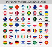 World national flags round buttons. Popular word official flag collection, round national flags icons Royalty Free Stock Photos