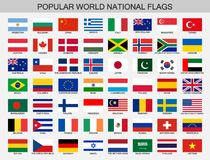 World national flags set, official nations flag collection. Popular world flafg in accurate colors Royalty Free Stock Photography