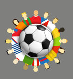 World national teams. Around the soccer ball Stock Photo