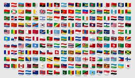 World national waving flags. Official country signs with names, countries flag banners vector set