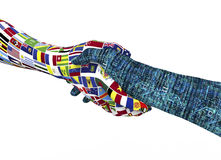 World nations hand shaking robothand isolated on white Royalty Free Stock Photography