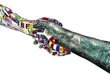 World nations hand shaking robothand isolated on white Stock Photos