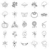 World of nature icons set, outline style. World of nature icons set. Outline set of 25 world of nature vector icons for web isolated on white background Royalty Free Stock Images