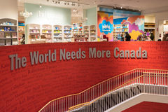 The World Needs More Canada Sign Inside a Bookstore. The World Needs More Canada is a catchphrase used at Chapters Bookstores, Canada�s largest book royalty free stock photography