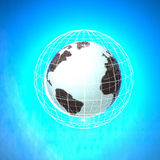 World in a net over blue background Royalty Free Stock Images