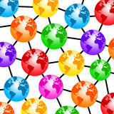 World network. Network connecting several colorful globes Stock Image