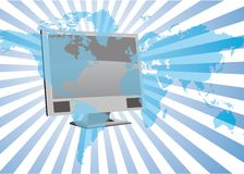 World network. Blue world network with computers Stock Image