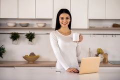 Joyful woman using her laptop in the kitchen royalty free stock photography