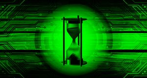 World network technology with hourglass time hour wood background. technology communication . Book page, paintings, printing, mobile backgrounds, book, covers royalty free illustration