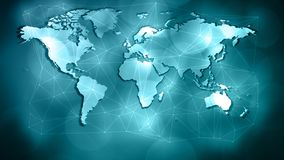 World network virus attack, triangle shape lines and dots connected. Connected dots with lines and graphic world map, creative abstract background. Global stock photo