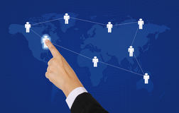 World networking. Asian business woman point to world business network stock photos