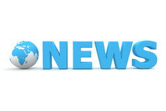World News. 3D globe with word News in blue - front view Royalty Free Stock Photo