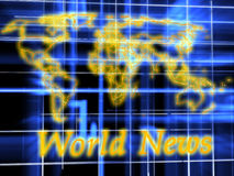 World News. 3d graphics render. Abstract picture on blue background Stock Images