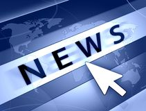 World news. Blue information news concept illustration and world map Royalty Free Stock Photo