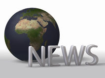 World News. News with a globe in the background Royalty Free Stock Images