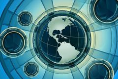 World News 3D. Glassy Render Illustration with Globe and Abstract Glassy Background. Cool Blue-Yellow Colors. Great for News Applications. Horizontal Design Stock Photos