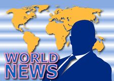 World News. A television journalist at job. Vectorial Illustration Royalty Free Stock Image