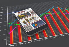 World news articles on digital mobile smart phone Royalty Free Stock Image