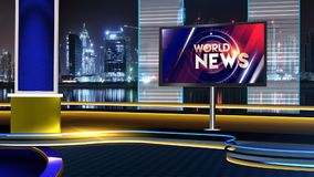 World News background with stdio red blue