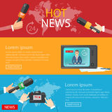 World news banners global online telecommunications tv radio. Live vector illustration stock illustration